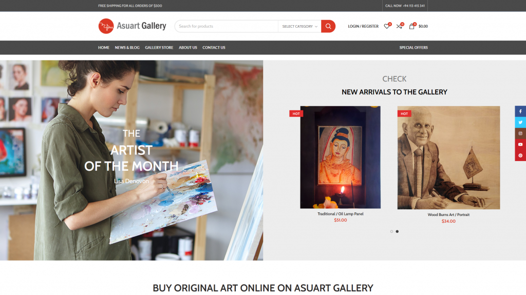 Asuart Gallery | ecommerce Website